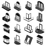 Balcony window forms icons set, simple style. Balcony window forms icons set. Simple illustration of 16 balcony window forms icons set vector icons for web royalty free illustration