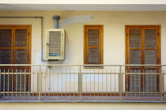 Balcony Windows Boiler Closed Abandoned House Royalty Free Stock Photography