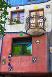 Balcony and Windows of Hundertwasser house Stock Image