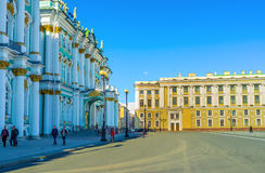 The balcony of the Winter Palace. Saint Petersburg - April 24, 2015: The Winter Palace is the beautiful example of the Elizabethan Baroque style, on April 24 in stock images