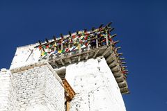 Balcony with wooden fencing, the top most portion of Tsemo monastery, Leh Stock Image