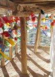 Balcony with wooden fencing and wooden supported ceiling, Tsemo monastery, Leh Royalty Free Stock Photos
