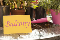 Balcony written on card in spring Stock Images