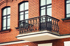 Balcony with wrought iron railings Stock Photography