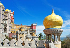 Balcony with yellow dome. Balcony with a yellow dome of the palace of the Pena, view from south side of the  Sintra hills, Portugal Royalty Free Stock Photo