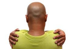 Bald. Man back, isolated on white background Royalty Free Stock Images