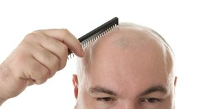 Bald adult man with comb stock photography