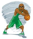 Bald African American Basketball Player in Dynamic Pose stock illustration