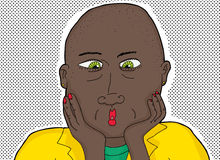 Bald Black Woman with Green Eyes Royalty Free Stock Photos