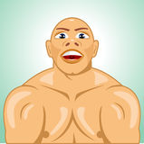 Bald bodybuilder straining muscles Royalty Free Stock Image