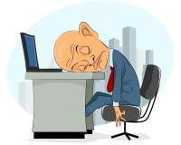 Bald businessman asleep. Vector illustration of a bald businessman asleep Royalty Free Stock Photo