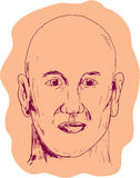 Bald Caucasian Male Head Drawing. Drawing sketch style illustration of head of a bald caucasian male viewed from front set on isolated white background Stock Image