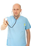 Bald doctor man with stethoscope Royalty Free Stock Images
