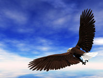Bald Eagle. Flying through a beautiful sky stock illustration
