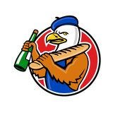 Bald Eagle Baguette Wine Circle Mascot vector illustration