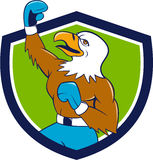 Bald Eagle Boxer Pumping Fist Crest Cartoon Royalty Free Stock Image