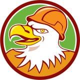 Bald Eagle Construction Worker Head Circle Cartoon Royalty Free Stock Photography