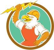 Bald Eagle Electrician Lightning Bolt Circle Cartoon Stock Photography