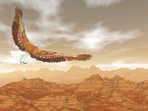 Bald eagle flying upon rocky mountains - 3D render. Bald eagle flying upon rocky mountains by sunset light - 3D render royalty free illustration