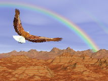 Bald eagle flying upon rocky mountains to the rainbow - 3D render. Bald eagle flying upon rocky mountains to the rainbow in blue sky - 3D render Royalty Free Stock Image