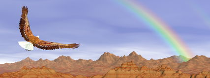 Bald eagle flying upon rocky mountains to the rainbow - 3D render. Bald eagle flying upon rocky mountains to the rainbow in blue sky - 3D render Stock Images
