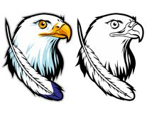 bald eagle head cartoon mascot  . can use for sport logo and t-shirt illustration Royalty Free Stock Images
