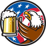 Bald Eagle Hoisting Beer Stein USA Flag Circle Retro. Illustration of an american bald eagle hoisting mug glass of beer stein viewed from the side with usa Stock Photo
