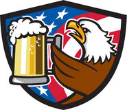 Bald Eagle Hoisting Beer Stein USA Flag Crest Retro. Illustration of an american bald eagle hoisting mug glass of beer stein viewed from the side with usa Stock Photos