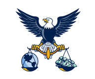 Bald Eagle Hold Scales Earth Money Retro Royalty Free Stock Photography