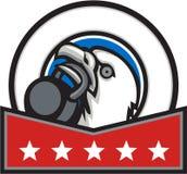 Bald Eagle Lifting Kettleball Circle Stars Retro Royalty Free Stock Images