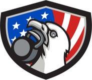 Bald Eagle Lifting kettlebell USA Flag Shield Retro Royalty Free Stock Photos