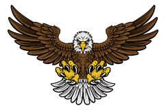 Bald Eagle Mascot. Cartoon bald American eagle mascot swooping with claws out and wings outstretched. Four color version with only brown, lightgrey, yellow and vector illustration