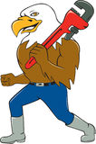 Bald Eagle Plumber Monkey Wrench Circle Cartoon Royalty Free Stock Images
