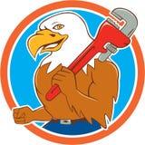Bald Eagle Plumber Monkey Wrench Circle Cartoon Stock Image