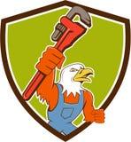 Bald Eagle Plumber Monkey Wrench Crest Cartoon Royalty Free Stock Photo