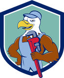 Bald Eagle Plumber Monkey Wrench Crest Cartoon Stock Photography