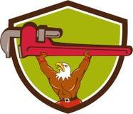 Bald Eagle Plumber Monkey Wrench Shield Cartoon Stock Photo