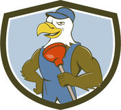 Bald Eagle Plumber Plunger Crest Cartoon. Illustration of an american bald eagle plumber wearing overalls and hat holding plunger with one hand on hips looking Stock Images