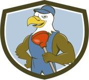 Bald Eagle Plumber Plunger Crest Cartoon Stock Images