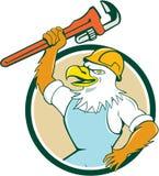 Bald Eagle Plumber Wrench Circle Cartoon Royalty Free Stock Image