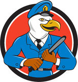 Bald Eagle Policeman Baton Circle Cartoon Stock Images