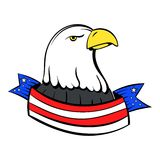 Bald eagle with USA flag icon cartoon Royalty Free Stock Images