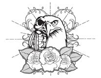 Bald eagle vintage neo traditional tattoo sketch. Hand drawn retro animal tattoo sketch with roses in vintage style. ornate romantic tattoo design element Royalty Free Stock Photos