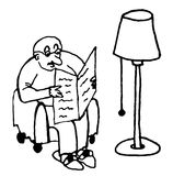 Bald fat man sitting in a chair reading a newspaper under the lamp in the living comic   illustration Stock Image