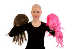 Bald girl stock images