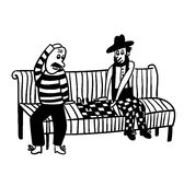Bald guy and the guy in the hat  playing chess on a park bench comic  illustration Stock Photography