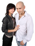 Bald handsome man and pretty brunette Royalty Free Stock Images