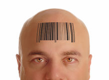 Bald head with barcode. Man with bald head stamped with barcode - identity Stock Photos
