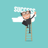 Bald Head Businessman Climb Up Fixed Ladder To Reach Success Royalty Free Stock Photos