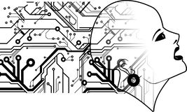 Bald Head And printed Circuits Royalty Free Stock Image
